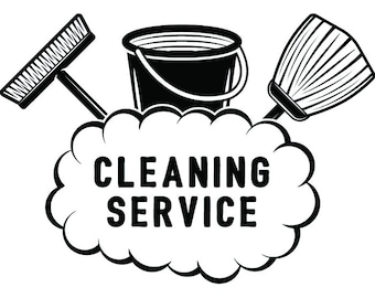 Cleaning Logo #39 Maid Service Housekeeper Housekeeping Clean Vacuum Mop Floor Laundry .SVG .EPS .PNG Clipart Vector Cricut Cutting Download