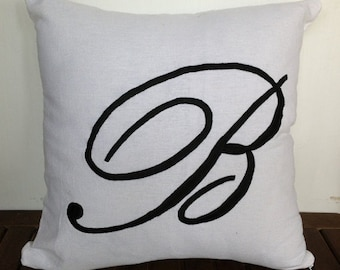 BIG Letter Monogram Embroidered, 26 x26 Sham Decorative Pillows, Personalized Euro Pillow Covers, Custom Alphabet Pillows