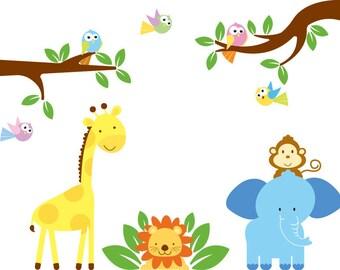 Nursery wall decal - Wall decals - Jungle decal - Safari decal - Kids - Tree branch - Elephant - Giraffe - Elephant - Lion - Birds