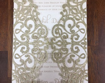 Stunning Lace Glitter Champagne Gold Laser Cut Wedding Invitations Wedding Die Cut Laser Cut Traditional Wedding Invites Laser Cut