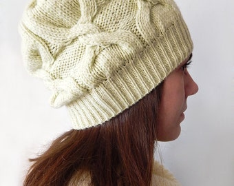 Knitted beanie hat, olive-green hat, womens hat, knitted winter hat, spring hat, cable hat