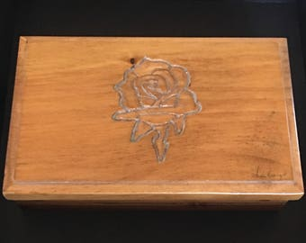 Vintage Wood Carved Rose Jewelry Trinket Storage Organizer Keepsake Box