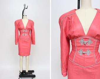 1980s Michael Hoban Dress { XS } 80s North Beach Leather Dress