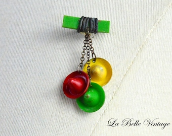 Tiny Hats Pin ~ Vintage 1940s Novelty Brooch ~ Red Green Yellow Celluloid