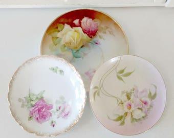 Hand Painted Pink Floral Plates / Roses  / Cottage Home Decor / Bridal Shower Decor / Victorian Home Decor / Vintage Home Decor