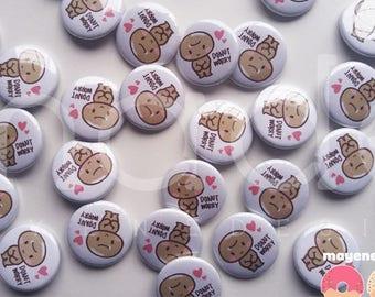 donut worry pin (doughnut pinback button)