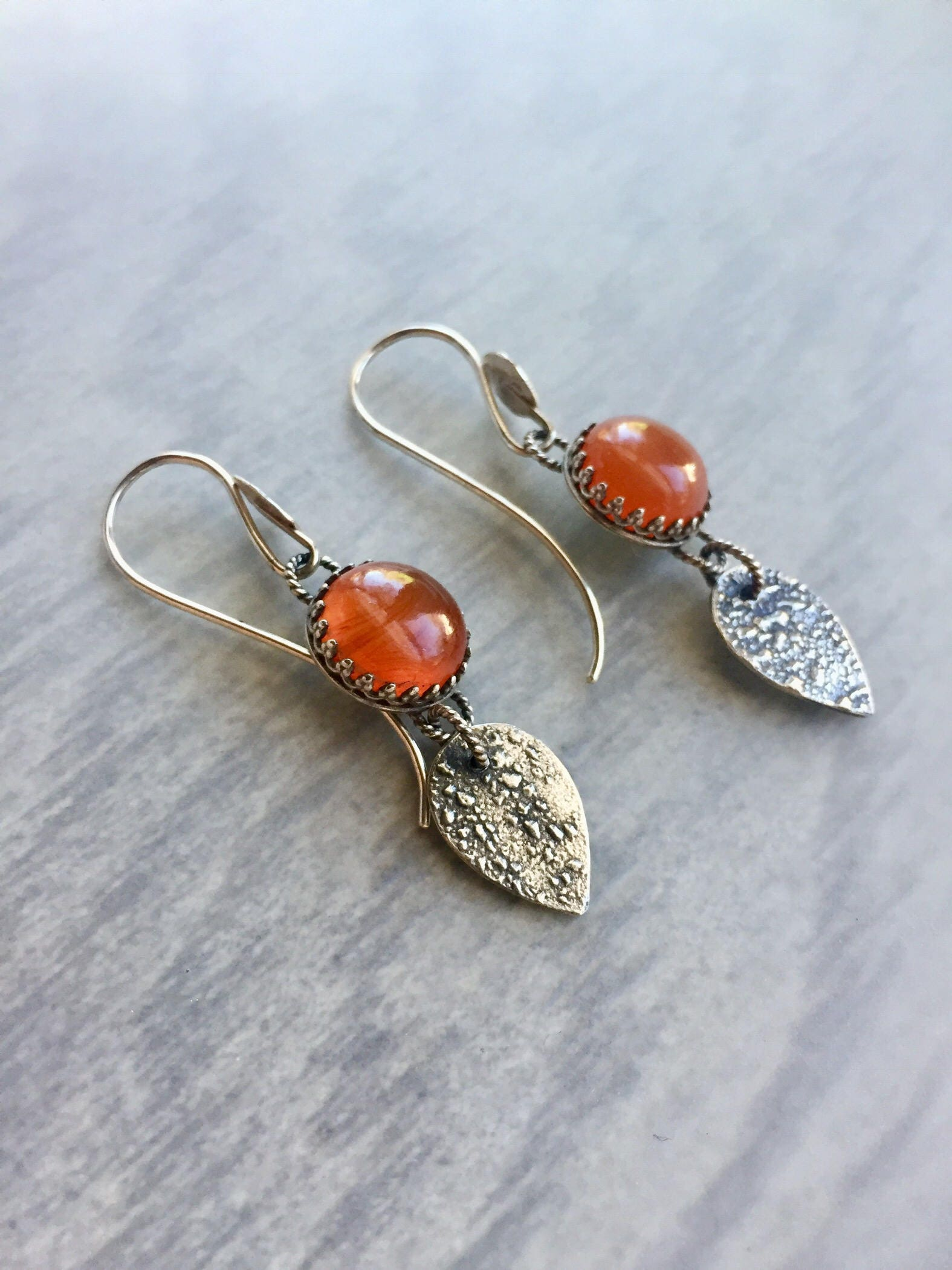 opal orange drop pin silver mexican earrings fire small gemstone earring carnelian ombre dew dangle