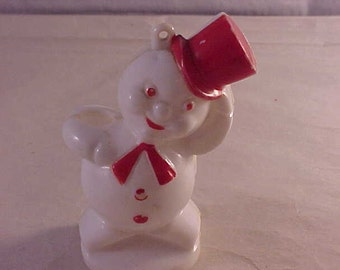 Hard Plastic Candy Container Snowman