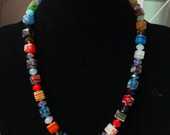 Cube Millefiori Beaded Necklace