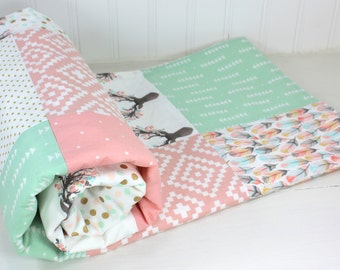 Woodland Nursery Woodland Baby Blanket Woodland Nursery Decor Baby Girl Nursery Blush Pink Coral Pink Mint Green Gold Feather Boho Buck Deer