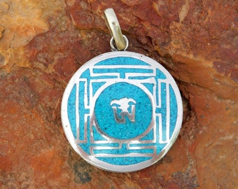 Chinese Inspired Asian Silvertone Vintage Pendant Crushed Turquoise Inlay