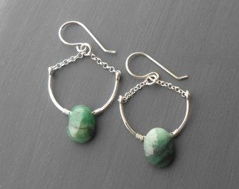 Sterling Silver Emerald Dangle Earrings