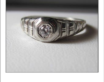 """Antique Deco 18k Tiered """"Ring of Romance""""  Diamond Engagement Ring"""