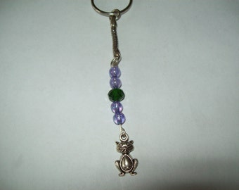Cat keyring, cat jewelry, purple and green beads