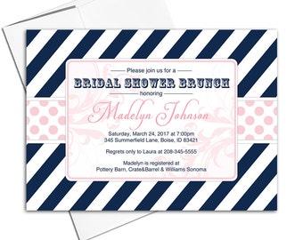 Bridal shower brunch invitation | bridal shower invitation | blush pink and navy wedding shower invitation | printable or printed - WLP00612