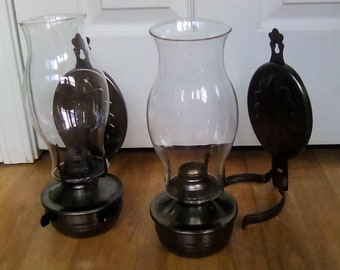 Oil lamps, hanging wall sconces, Set of 2, Cabin decor, Hurricane Lamp pair of lamps