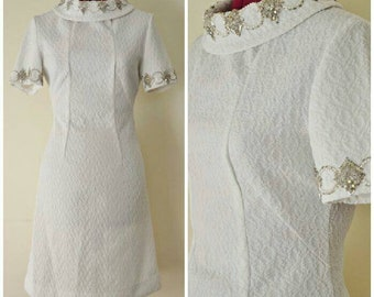 vintage 60's white silver pearl beaded mod mini dress S
