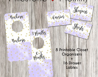 Purple Watercolor Closet Dividers, DIGITAL DOWNLOAD, Printable Drawer Labels, Baby Nursery Organization, Lilac Closet Dividers, Baby Girl