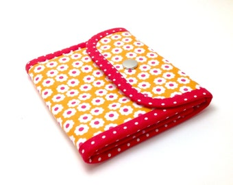 Small Accordion Wallet. Orange Girl's Wallet. Small Fabric Wallet. Small Clutch. Bifold Wallet.