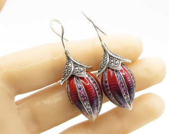 925 silver - marcasite & multicolor crystals blooming rose dangle earrings e1034