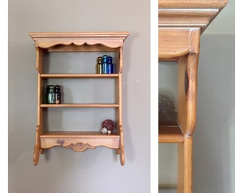 large wood wall shelf with towel bar / vintage kitchen wall