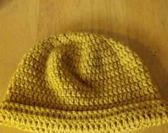 Cute beanie hat in shade of mustard or gold color