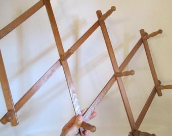 Vintage Large Expandable Wood Peg Rack