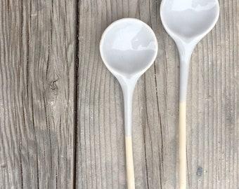 Ceramic Spoons Home Decor Handmade light grey Glaze - pair of spoons