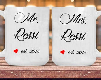 Couple cups Mr. & Mrs. Anniversary, white ceramic 11oz gift for lovers, Anniversary wedding engagement