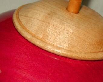 Fuchsia, hand-turned, lidded bowl.