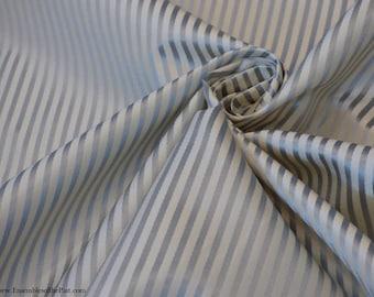 "Silk fabric - Ribbon Striped Silk Satin on Taffeta - Silver on Ivory White - Pure Silk - by the yard - 56"" WIDE - EP Silk #170"