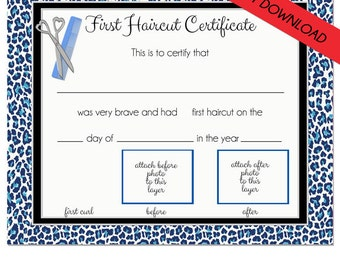 first haircut certificate cheetah baby first haircut photo certificate instant download psd file diy 8 x 10 high quality 300 dpi