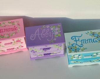 Personalized Child's Jewelry Box Wood Box Girls Blue Pink Purple Nursery Decor Castle