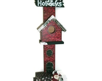 "Hand Crafted, Santa Birds House, Stand 19""H, Indoor Decor Birdhouse Christmas  Holiday Gift-Crafted In The USA"