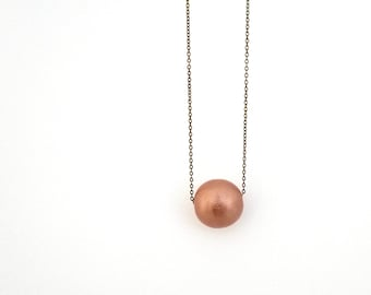 Rose gold bead necklace, geometric necklace, extra long necklace