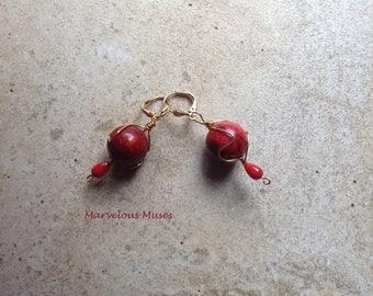 Jasper and Coral Earrings