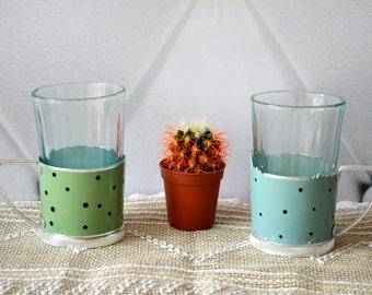 Metal Glass Holder, glass podstakannik, Polka Dot Tea Set, tea glass holder, set of 2 glasses, Russian Souvenir, Tea cup holder