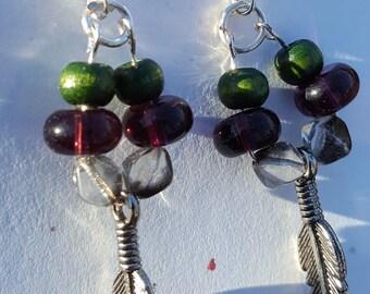 Feather loop earrings