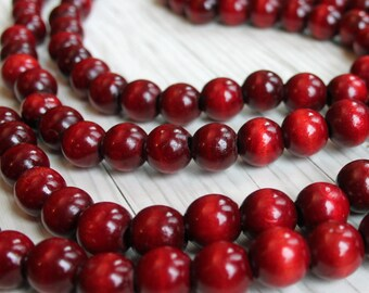 Vintage Wood Bead Garland Red Cranberry Cherry Large Wooden Beads 8 Ft Length Berry Holiday Christmas Decor