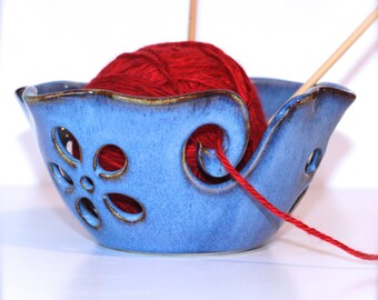 Ruffled Flower Ceramic Yarn Bowl, Yarn Bowl, Knitting Bowl, Crochet Bowl , Bright Sky Blue Yarn Bowl, Made to Order