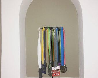 Stylish freestanding medal display, medal holder, running medal holder, running medal display, race medal display, race medal holder.