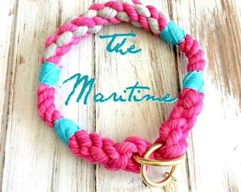The Maritime design Rope Collection - Dog Collar, Slip Collar, Training Collar, Snap hook Collar, Christmas Gift, Dog Gift