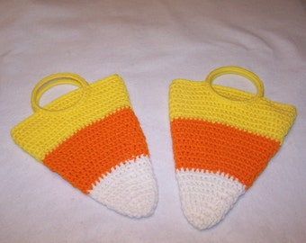 Halloween Crocheted Candy  Corn Trick or Treat Bag