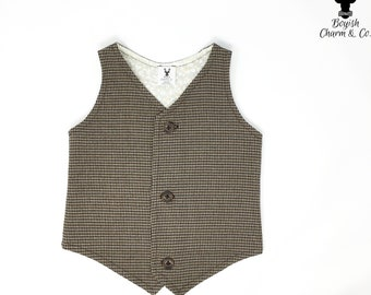 Boys Brown Vest, Boys Brown Tweed Vest, Boys Brown Houndstooth Vest, Toddler Vest, Toddler Brown Vest, Ring Bearer Outfit, Rustic Wedding