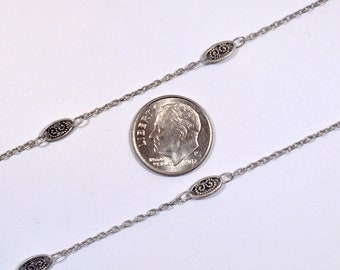Filigree & Cable Chain - Antique Silver - CH86-AS - Choose Your Length