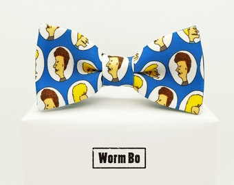 Beavis and Butthead Bow tie, Blue bowtie, Funny gift