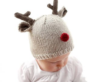 Reindeer Baby Hat KNITTING PATTERN for babies & toddlers / Christmas Hat Baby / Baby Reindeer Hat / Christmas Knit Hat /My First Christmas