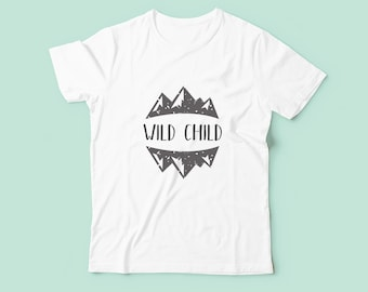 Wild Child - Childrens Kids Tshirt, Unisex T-Shirt, Boys Girls Clothing, Toddler Tshirt, Summer Festival, Outdoors, Boy Gift, Girl Gift