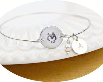 Owl Bracelet- Silver Filled Initial/Birthstone Charms, Circle Disc and Sterling Silver Filled Wire Wrapped Bangle -Custom Made to Size