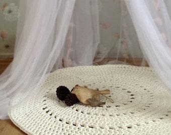 White Crochet Rug, White Rug, Floor Mat, Nursery Rug, Baby Room Floor Mat, Home Decor, Newborn Photo Prop, Kids Room Decor